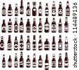 Beer bottles vector collection. Bar seamless background. 44 different vector forms & labels. - stock vector