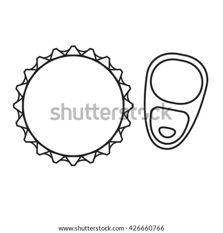 Beer can top and bottle cap viewed from above vector line icons  - stock vector