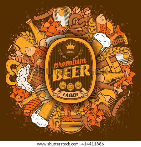 Beer coaster design in Hand Drawn Doodle Style with Different Objects on Beer Theme. Beer and Snack. Paste your company logo in center. All elements are separated and editable. Vector Illustration.  - stock vector