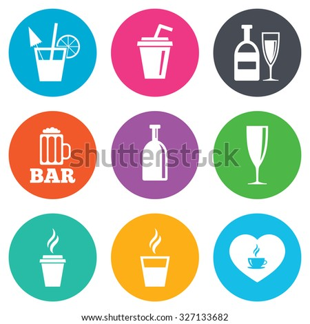 Beer, coffee and tea icons. Beer, wine and cocktail signs. Soft and alcohol drinks symbols. Flat circle buttons. Vector - stock vector