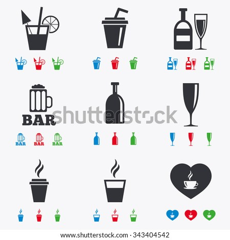 Beer, coffee and tea icons. Beer, wine and cocktail signs. Soft and alcohol drinks symbols. Flat black, red, blue and green icons. - stock vector
