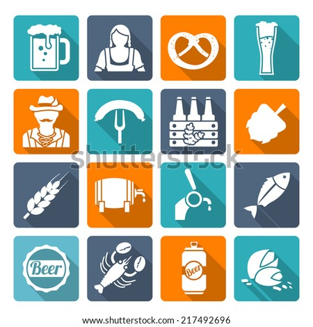 Beer cold alcohol beverage Oktoberfest festival icons flat set isolated vector illustration - stock vector