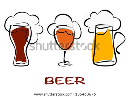 Beer collection. Three mugs of beer pint on white. Vector eps10 illustration. Raster file included in portfolio - stock vector
