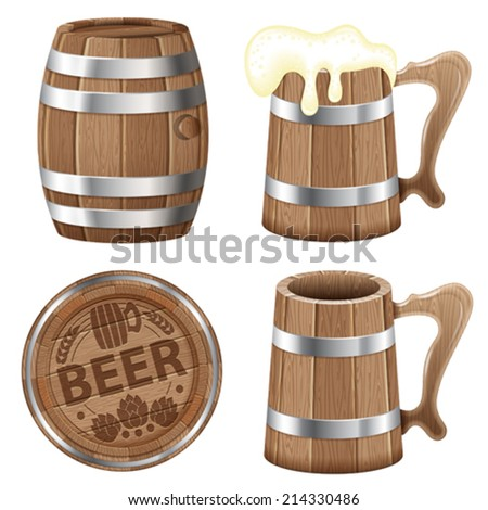 Beer Collection with Barrel of Beer and Wooden Mug, vector isolated on white background - stock vector