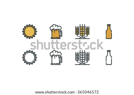 Beer color icons. Line art. Stock vector. - stock vector