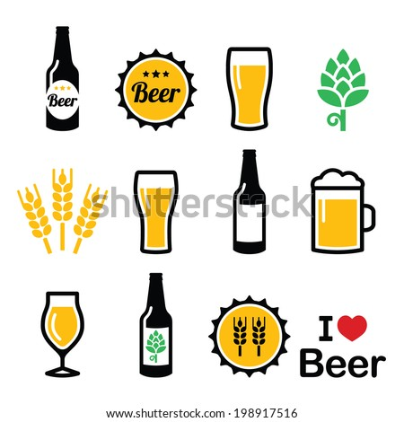 Beer colorful vector icons set - bottle, glass, pint   - stock vector