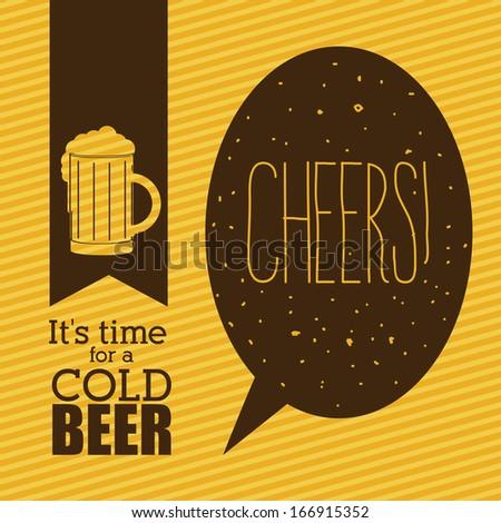 beer design over lineal background vector illustration  - stock vector