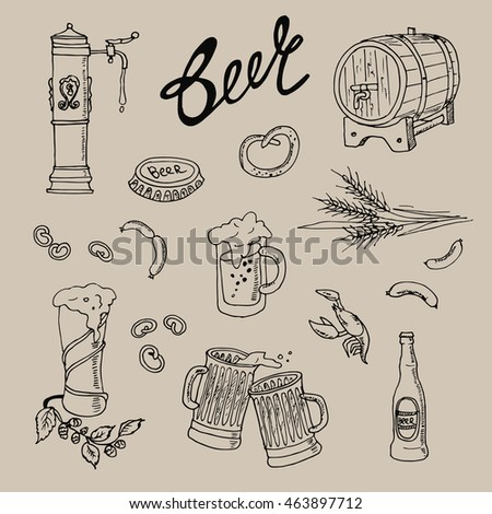 Beer elements set. Vector illustration in sketch style. Hand drawn design elements.