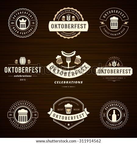 Beer festival Oktoberfest celebrations retro style labels, badges and logos set with beer mug on wooden background. Vector illustration. - stock vector