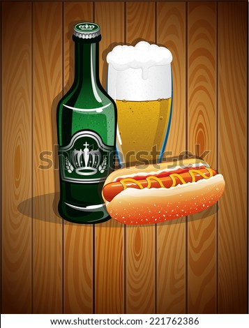 Beer glass, bottle and hot dog on a wooden background. Abstract Oktoberfest  background  - stock vector