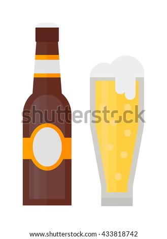 Beer glass bottle on white background and vector beer glass bottle. Beer glass bottle beverage liquid cold and pub lager beer glass bottle. Bottle fresh dark cold beer and glass full delicious beer. - stock vector