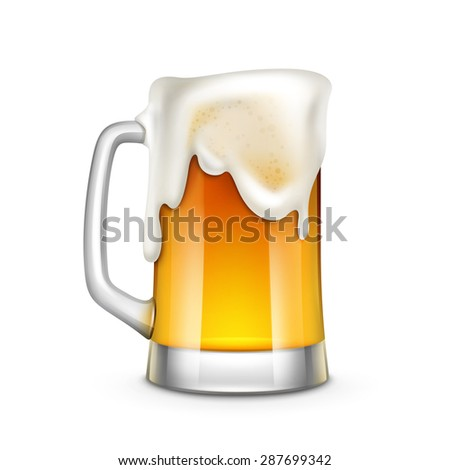 Beer Glass Vector Illustration Isolated on White Background - stock vector