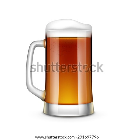 Beer Glass Vector Illustration Isolated on White Background