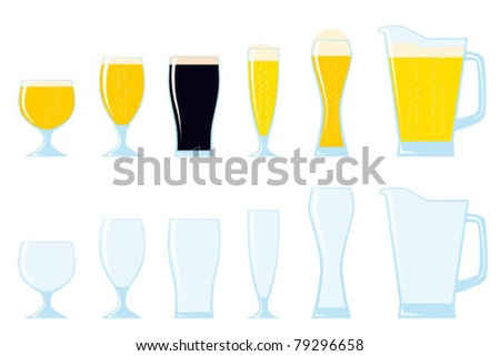 Beer glasses. Part of a collection of glasses and drinks. - stock vector