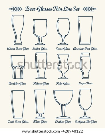 Beer glassware. Drinking glasses and goblets thin line signs. Vector illustration - stock vector
