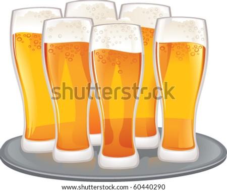 Beer goblets - stock vector