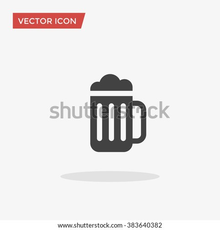 Beer Icon in trendy flat style isolated on grey background. Beer glass symbol for your web site design, logo, app, UI. Vector illustration, EPS10. - stock vector