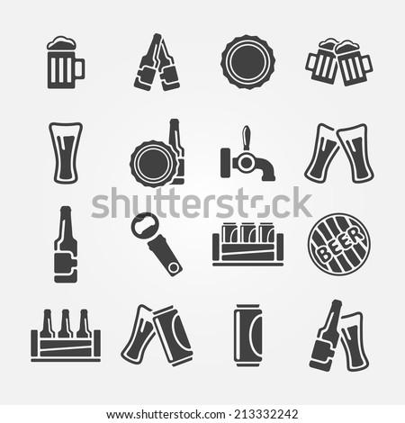 Beer icon set made of 16 beer vector symbols - stock vector
