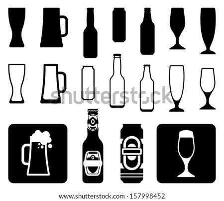 Beer icons: bottles, glasses, mugs - stock vector