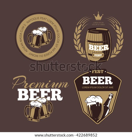 Beer icons, labels, signs for posters and banners. Fest, premium, alcohol bottle. Vector illustration - stock vector