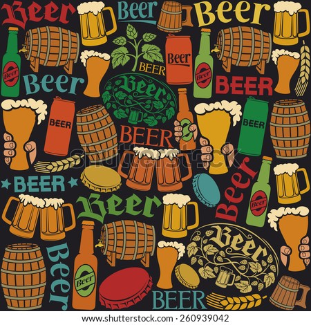 beer icons seamless pattern (beer background, hops leaf, hop branch, wooden barrel, glass of beer, beer can, bottle cap, beer mug, beer beer bottles) - stock vector