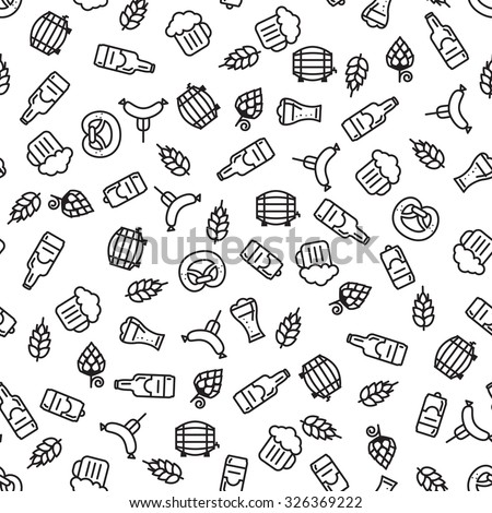 Beer icons seamless pattern (hop branch, wooden barrel, glass of beer, beer can, bottle cap, beer mug, barley). Oktoberfest background.