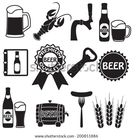 Beer icons set. Drink labels or signs. Vector symbols and design elements for restaurant, pub or cafe.  - stock vector