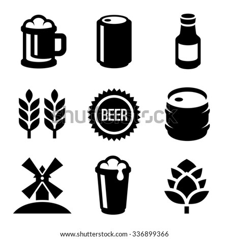 Beer Icons Set on White Background. Vector - stock vector
