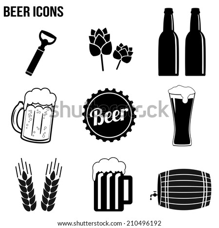 Beer icons set on white background, vector illustration - stock vector