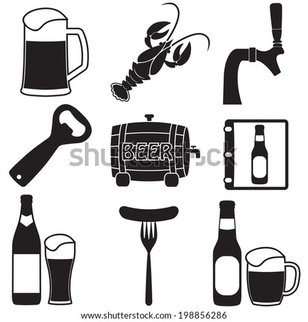 Beer icons set. Vector symbols and design elements for restaurant, pub or cafe. - stock vector