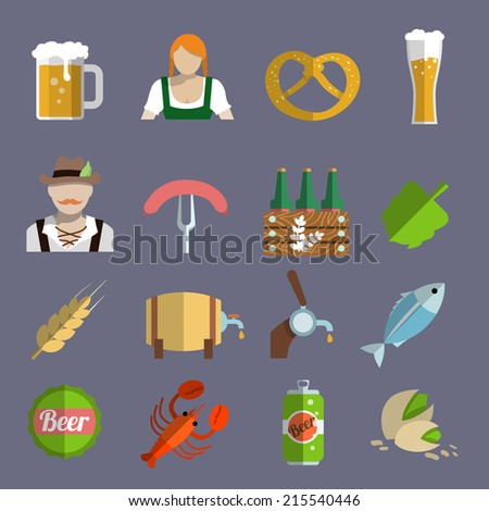 Beer icons set with barrel glass and fork with sausage isolated vector illustration - stock vector