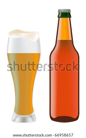 Beer in glass and dark bottle of beer on a white background