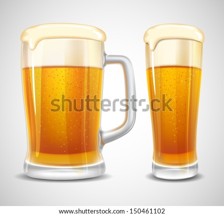 Beer in glass and mug. Realistic vector. - stock vector