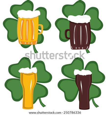 Beer in glass on background of green clover for st. patricks day - stock vector