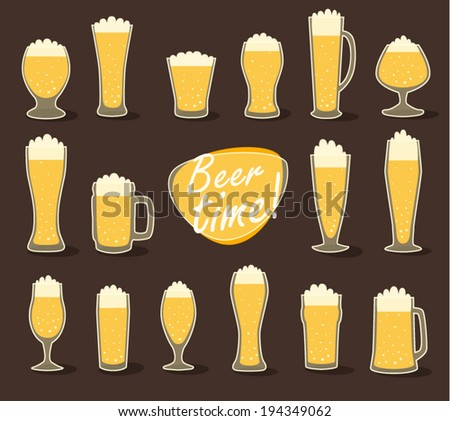 Beer in glass (pint of beer) flat icon set, vector illustration - stock vector