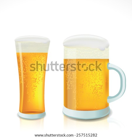 Beer in glass. Realistic vector. - stock vector