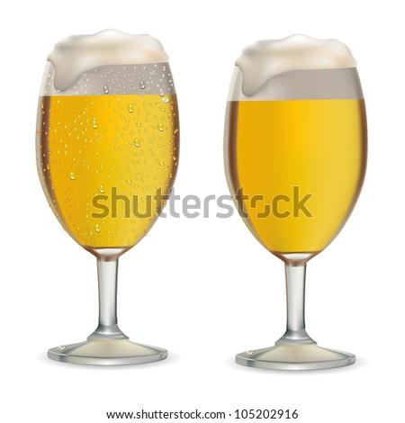 Beer in glass with drops on white background vector