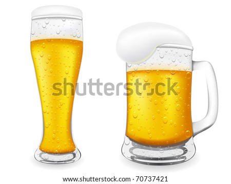 beer is in glass vector illustration isolated on white background