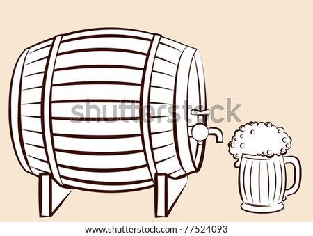 Beer keg and glass.Vector for design