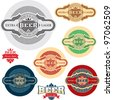 Beer label. Alcohol labels set. - stock vector