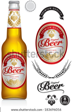 Beer Label and neck label on clear transparent glass beer bottle 330 ml with aluminum lid - vector visual, ideal for beer, lager, ale, stout etc. Drawn with mesh tool. Fully adjustable & scalable. - stock vector