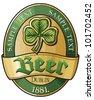 beer label design (irish beer label) - stock vector