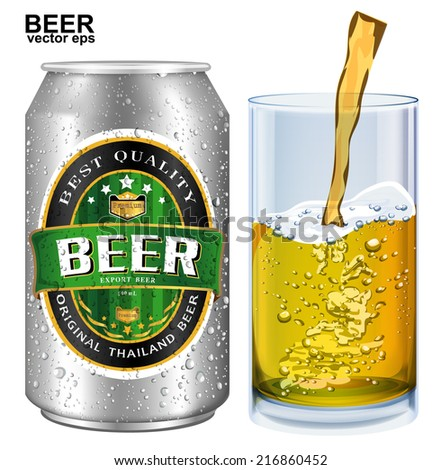 Beer Label vector visual on aluminum drinks can, ideal for beer, lager, ale, stout etc. Can drawn with mesh tool. Fully adjustable & scalable.  - stock vector