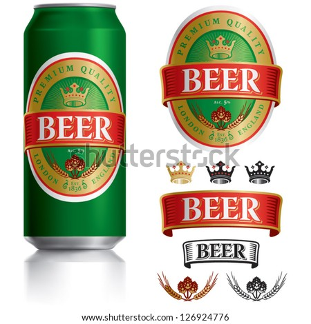 Beer Label vector visual on Green drinks can 500 ml, ideal for beer, lager, ale, stout etc. Can drawn with mesh tool. Fully adjustable & scalable. - stock vector