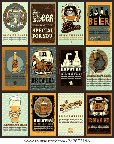 Beer labels set  design contains images of beer mug,beer glass, brewery,anchor,ribbon,helmet,beer bottles, griffin and  escutcheons. Beer labels set. Vintage style. - stock vector