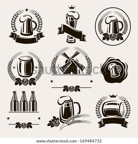 Beer labels set. Vector - stock vector