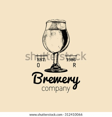 Beer logo. Vector vintage brewery logo. Retro logotype with beer. Brewery sign. Beer icon.Old brewery. Beer label. Brewery sketch. Beer bar. Brewery background. Craft beer. Beer  illustration. - stock vector