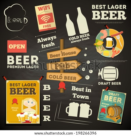 Beer Menu Chalkboard Design. Vector Illustration. - stock vector
