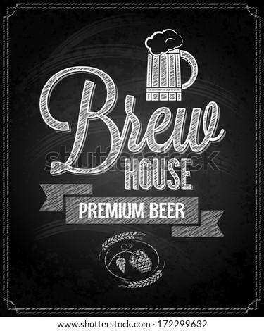 beer menu design house chalkboard background - stock vector