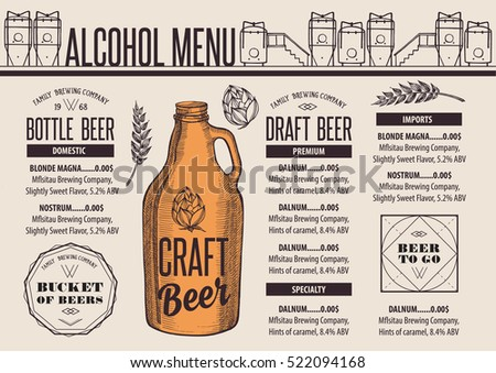 Beer Menu Placemat Food Restaurant Brochure Stock Vector